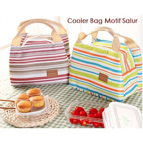 Luch Bag Cooler Bag Motif Salur cooler bag lunch bag cooler bag motif salur shopee indonesia