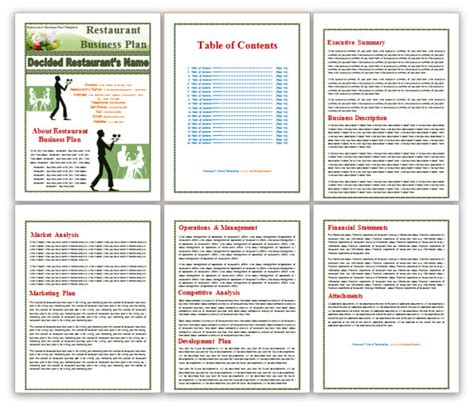 business plan template restaurant business plan pdf restaurant