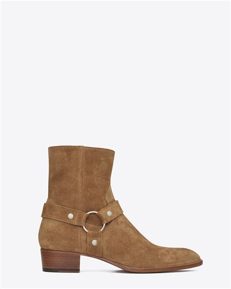 ysl boots laurent classic wyatt 40 harness boot in cigar suede