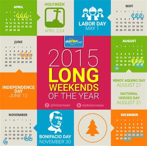 Calendar 2015 Printable With Holidays Philippines Infographic Weekends Of 2015 In The Philippines