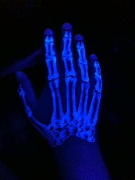 glow in the dark skeleton hand tattoo black light tattoos and designs page 57