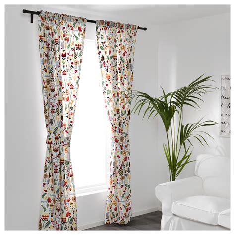 ikea flower curtains r 214 darv curtains with tie backs 1 pair multicolour 145x250