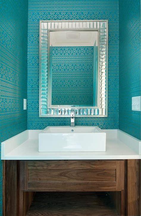 Thibaut Bimini Ikat Wallpaper   Transitional   bathroom