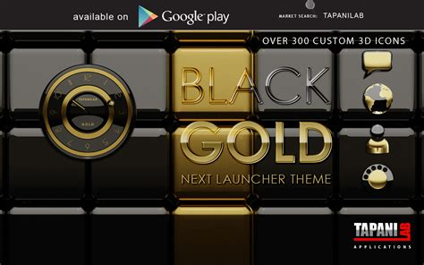 next launcher theme black 3d next launcher theme black gold android apps on google play