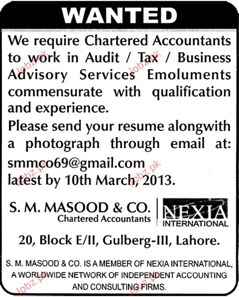 Resume For Hotel Jobs by Chartered Accountants Job Opportunity 2018 Jobs Pakistan