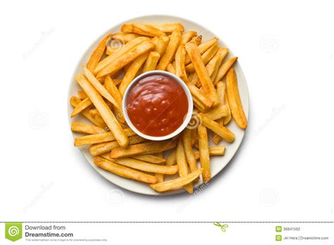 fries top fries with ketchup on plate stock photography