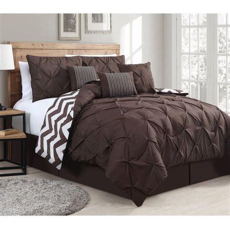 brown queen comforter 7 piece comforter set reversible bedding pinch pintuck and