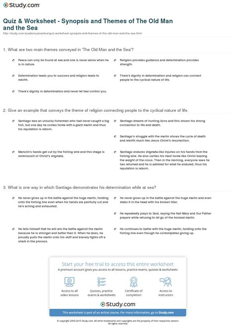 quiz theme quiz user summary quiz worksheet synopsis and themes of the old man and