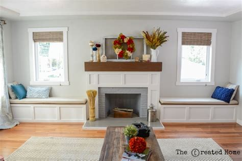 How To Build A Window Bench Seat With Storage Fireplace Makeover With Built In Window Seats The