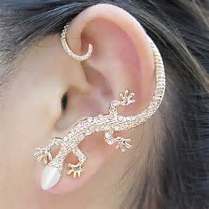 ear cuff jewelry silver glittering lizard ear cuff single lilyfair jewelry