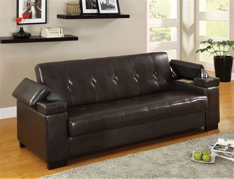 futon with storage enrico sofa bed with storage cup holder futons