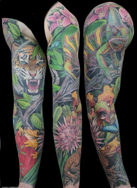 jungle sleeve tattoo 50 best jungle theme tattoos images on