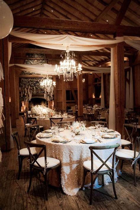 Winter Cabin Wedding by Ivory Sequin Wedding Reception Linens In Cozy Rustic Cabin
