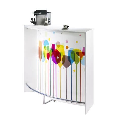 meuble bar comptoir de cuisine accueil blanc 135 cm