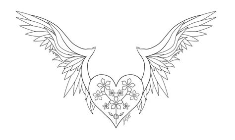 Sketches Of Hearts With Wings Coloring Pages Coloring Pages Of Hearts With Wings