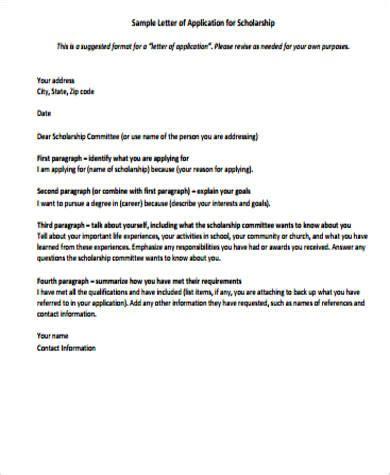 model application letter for scholarship application letter exle 11 sles in word pdf