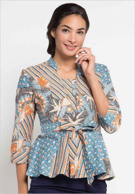 Blouse Atasan Wanita Batik Bl332 45 model baju batik atasan wanita terbaru 2019 hijabtuts