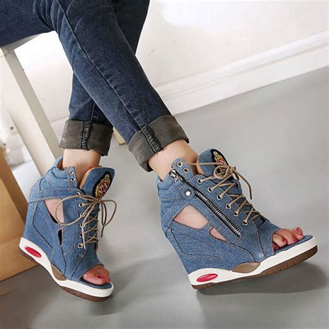 Wadges Boot Denim Sneakers Denim and sandals with beautiful images playzoa