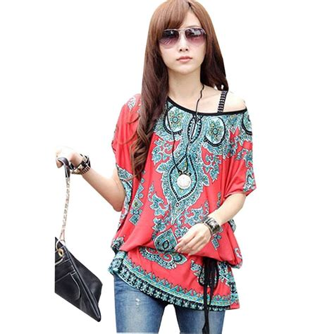 women s relaxed floral print bawting sleeve blouse holiday