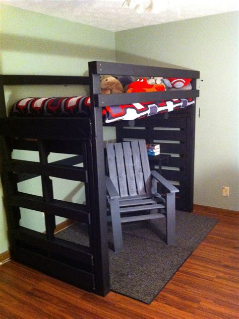 pallet loft bed loft bed and chair made from pallets up cycled