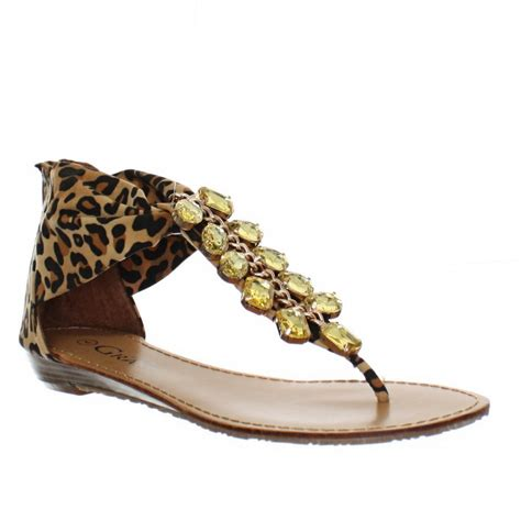 leopard sandals womens low wedge leopard print gold embellished