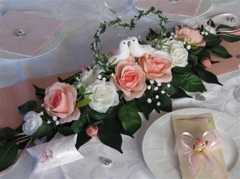Tischdeko Hochzeit Altrosa by Tischgesteck Ehrenplatz Rosa Wei 223 Tauben Herz Tischdeko