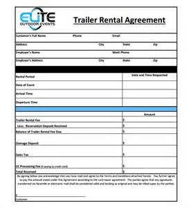 sample trailer rental agreement template 7 free