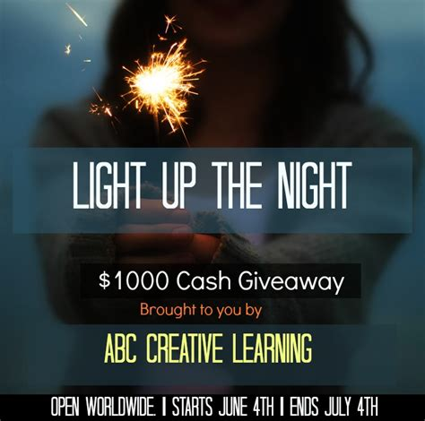 Cash Giveaways Ending Today - light up the night 1 000 cash giveaway