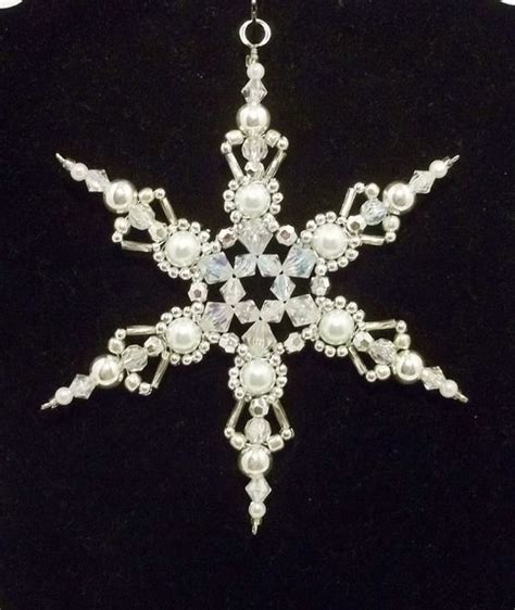 beaded christmas decorations free patterns snowflake ornament white pearl silver and clear ab