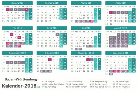 Kalender 2018 Ferien Feiertage Baden Württemberg Ferien Baden W 252 Rttemberg 2018 Ferienkalender 220 Bersicht