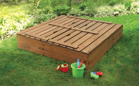 sandbox with folding benches badger basket covered convertible cedar sandbox with bench