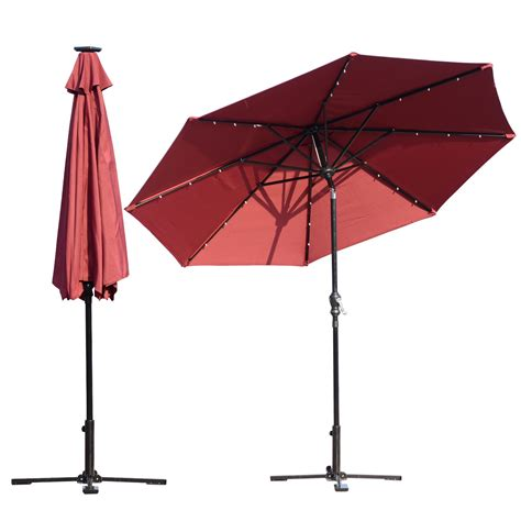 Clearance Patio Umbrella Outsunny 8 5 Solar Led Market Patio Umbrella Wine