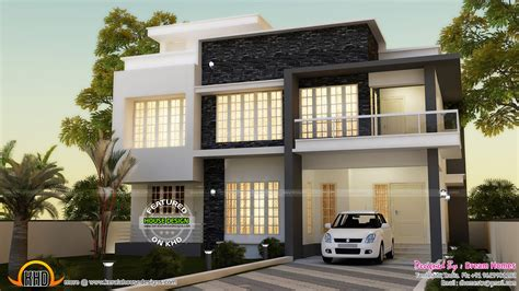 First Floor Master Bedroom Floor Plans by Simple Contemporary House And Plan Kerala Home Design