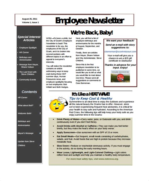Employment Newsletter Sle Employee Newsletter Template 9 Free Documents