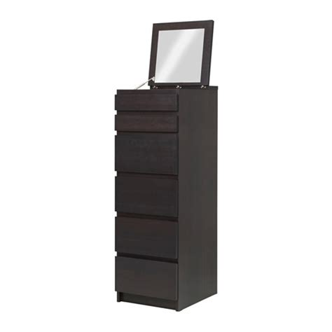 Black Malm Dresser by Malm 6 Drawer Chest Black Brown Mirror Glass Furniture