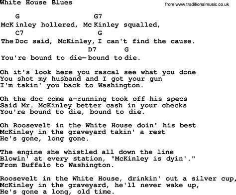 Top 1000 Folk And Old Time Songs Collection White House Blues Lyrics With Chords