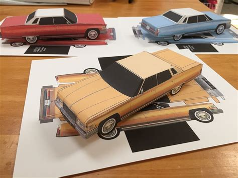 How To Make A Paper Model Car - papercraft cadillac sedan gold color paper model