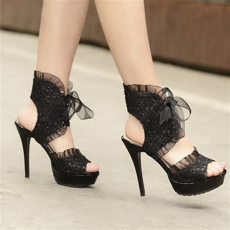 lace high heels black black lace up high heels on platform open toe