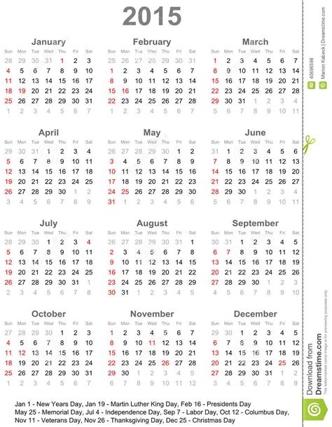 Calendario De Usa 2015 Calendar 2015 For Usa Week Starts On Sunday Stock Vector