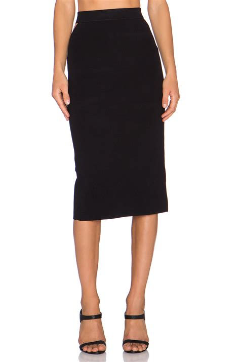 endless slit back midi skirt in black lyst