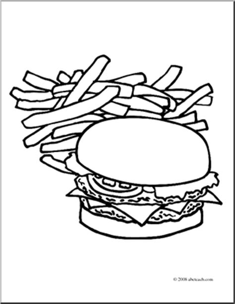 Mcdonald S Hamburger Clipart Clipart Suggest Fries Coloring Page