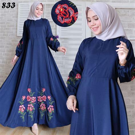 gamis maxi katun silky bordir c833 baju muslim modern