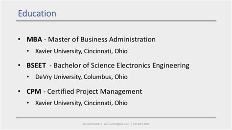 Of Cincinnati Mba Review by Kenneth Smith Professional Highlights
