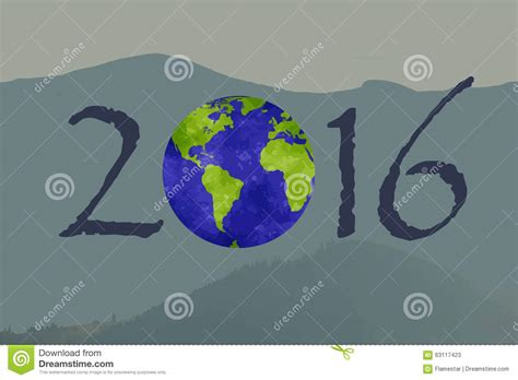earth new year happy new 2016 year picture with a planet on it stock