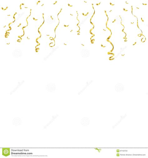 Celebration Background Template With Confetti And Golden Ribbons Vector Illustration Stock Celebration Of Template