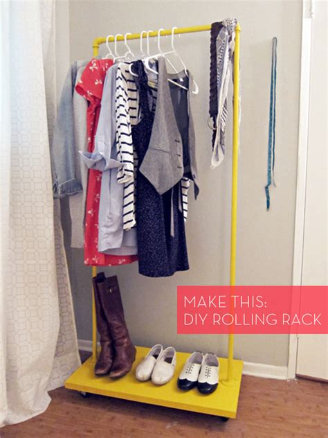 how to make a colorful diy rolling clothes rack for cheap