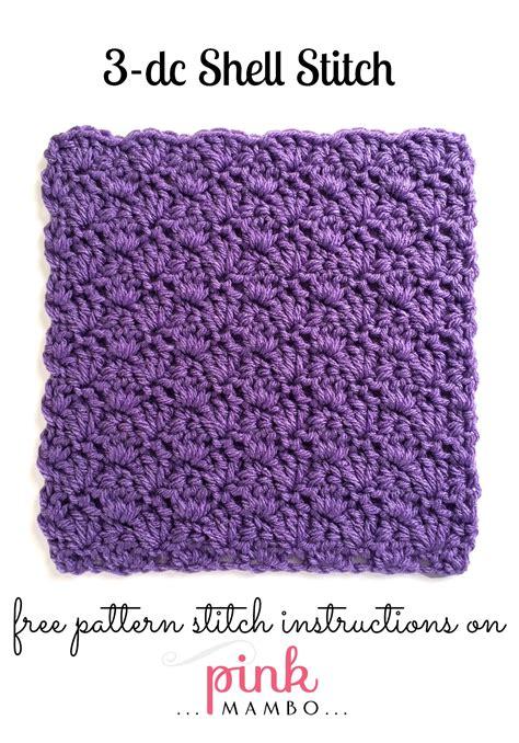 shell pattern crochet video 3 double crochet shell stitch pattern pink mambo