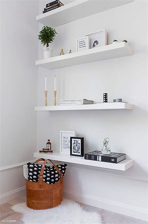 bedroom wall shelves a chic 42 spm apartment in sweden white floating shelves