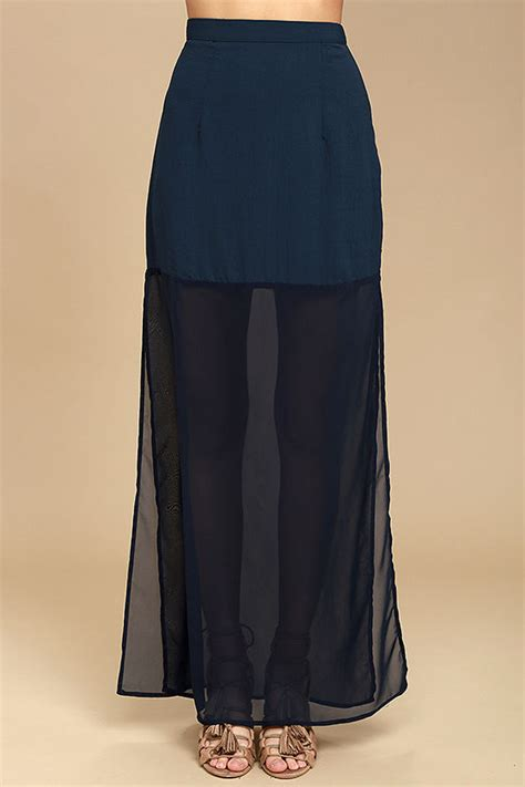At Maxi 38 Navy lovely navy blue skirt blue chiffon maxi skirt side slit maxi skirt 38 00