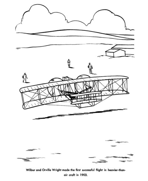 Usa Printables Wright Brothers Flight Coloring Sheet Wright Brothers Coloring Page